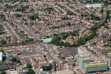 Hounslow East station and surrounds, aerial view