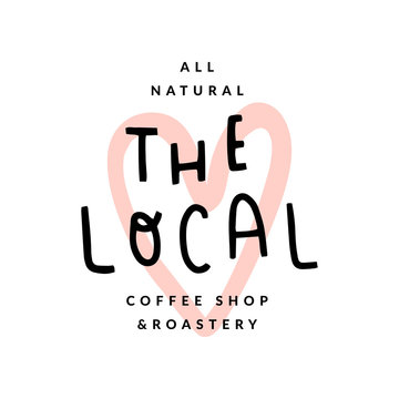 The local coffee shop logo, handwritten lettering, modern simple logotype with heart shaped stamp illustration as backdrop. Quirky childish style, good as brand sign or symbol