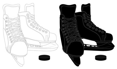 Skates for hockey and ice skating. Vector black and white illustration that can be used as an emblem or sticker, for textile or print. Icon for sports figure skating sections.