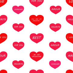 Seamless pattern: red and pink hearts with the words on a white background. Packing for Valentine's Day. vector. illustration