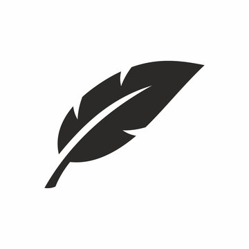Feather icon. Vector icon isolated on white background.