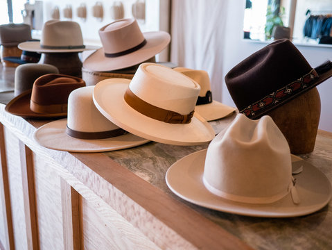 Fashionable hat display in retail store