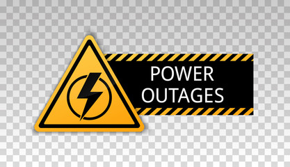 Power outage. Symbol without electricity. Triangular yellow and black icon of electricity. Warning power outages. Caution. Electricity lights out. Concept without electricity. Lightning. High voltage