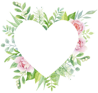 Watercolor green botanical heart shaped frame with rose peonies