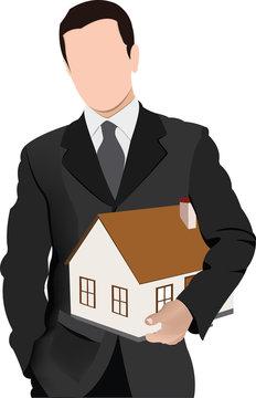 persona distinta con sottobraccio modello di casa abitazione