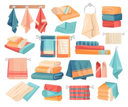 Large set of colored towel icons hanging on pegs, folded in assorted stacks and piles, rolled as a decoration and laid out flat, vector illustration
