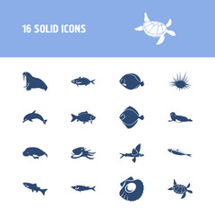 Fauna icon set and arctic char fish with atlantic bottlenose dolphin, gemfish and flying fish. Marine fish related fauna icon vector for web UI logo design.