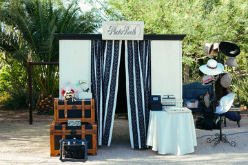Large photo booth at wedding event