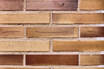 details of new red brick wall