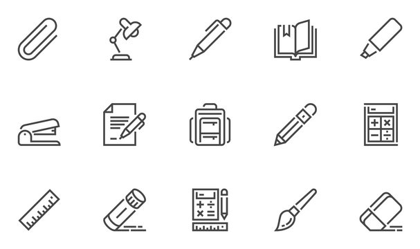 School Supplies Vector Line Icons Set. Paper Clamp, Pencil, Document, Stapler, Schoolbag. Editable Stroke. 48x48 Pixel Perfect.