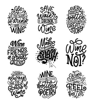 Set of wine lettering compositions in modern style. Alcohol beverage bar drink concept. Vintage typography for prints or posters. Vector
