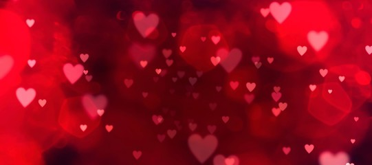 Photo sur Aluminium Montagne Valentines day background banner - abstract panorama background with red hearts - concept love