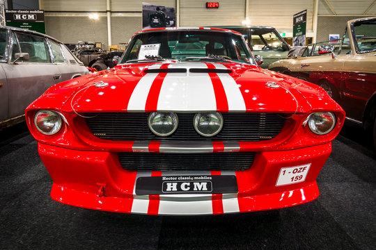 MAASTRICHT, NETHERLANDS - JANUARY 15, 2016: Pony car Shelby Mustang GT500CR, 1967. International Exhibition InterClassics & Topmobiel 2016
