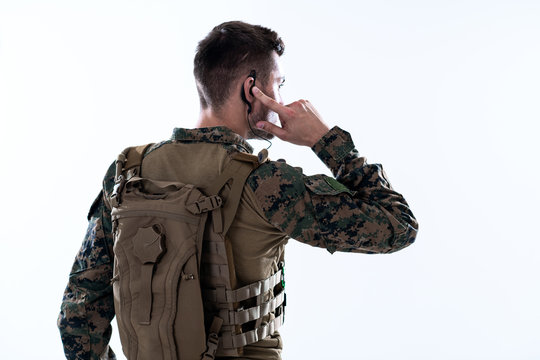 soldier preparing gear for action and checking communication
