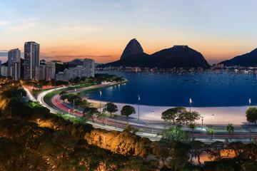 Rio de Janeiro view towards Sugar Loaf Mountain across Botafogo Beach and Avenue of United Nations