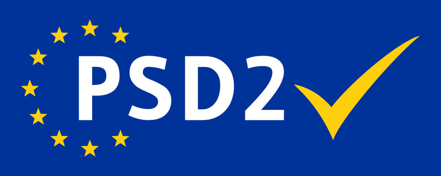 ebbn50 EuropeBannerBlueNew ebbn - german text - PSD2 - online banking. - english - account - bill - Payment Services Directive2 - paying technology - check mark icon - banner - 2comma5to1 xxl g8919