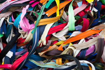 Many zippers, different colors