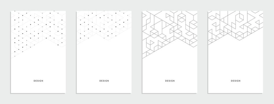 Abstract geometric technological banner. Corporate identity flyer. Vector set background.