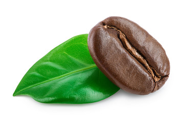 Papiers peints Café en grains roasted coffee bean with leaves isolated on white background.