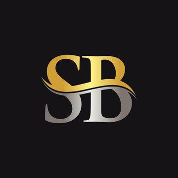 Gold And Silver letter SB Logo Design with black Background. SB Letter Logo Design