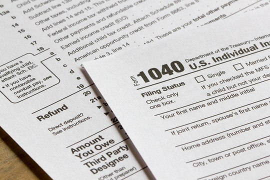 Form 1040, U.S. Individual Income Tax Return for year 2019.
