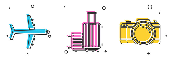 Set Plane, Suitcase for travel and Photo camera icon. Vector