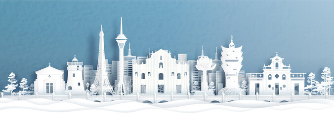 Fototapete - Panorama view of Macau, China city skyline with world famous landmarks in paper cut style vector illustration.