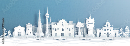 Fototapete Panorama view of Macau, China city skyline with world famous landmarks in paper cut style vector illustration.