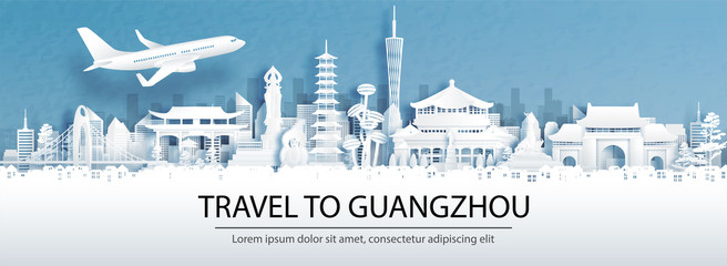 Fototapete - Travel advertising with travel to Guangzhou, China concept with panorama view of city skyline and world famous landmarks in paper cut style vector illustration.