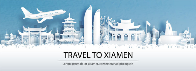 Fototapete - Travel advertising with travel to Xiamen, China concept with panorama view of city skyline and world famous landmarks in paper cut style vector illustration.