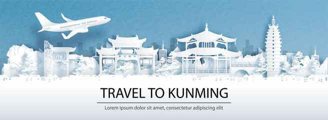 Fototapete - Travel advertising with travel to Kunming, China concept with panorama view of city skyline and world famous landmarks in paper cut style vector illustration.