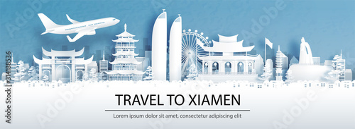Fototapete Travel advertising with travel to Xiamen, China concept with panorama view of city skyline and world famous landmarks in paper cut style vector illustration.