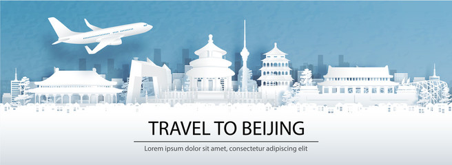 Fototapete - Travel advertising with travel to Beijing, China concept with panorama view of city skyline and world famous landmarks in paper cut style vector illustration.