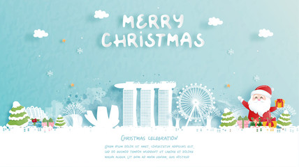 Wall Mural - Christmas card with travel to Singapore concept. Cute Santa and gift boxes. World famous landmark in paper cut style vector illustration.
