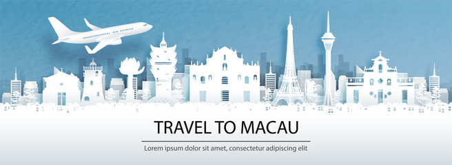 Fototapete - Travel advertising with travel to Macau, China concept with panorama view of city skyline and world famous landmarks in paper cut style vector illustration.