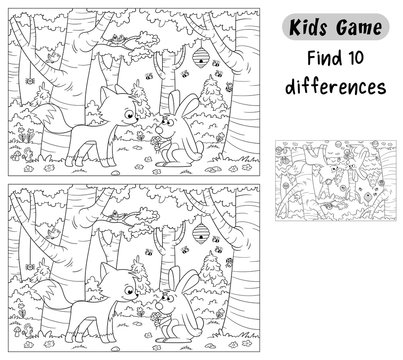 Find 10 differences. Funny cartoon game for kids, with solution. Vector illustration with separate layers.