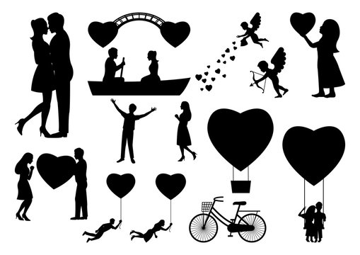 set of design element for valentine's day with people in black silouette,vector illustration