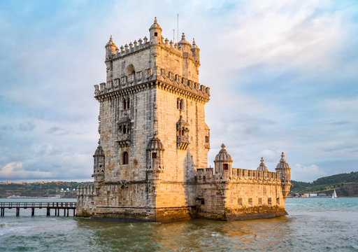 Belem tower in Lisbon at sunset