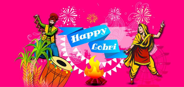 Punjabi festival of lohri celebration bonfire background with wishes of Happy Lohri