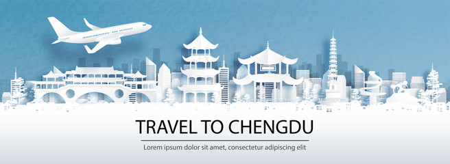 Fototapete - Travel advertising with travel to Chengdu, China concept with panorama view of city skyline and world famous landmarks in paper cut style vector illustration.