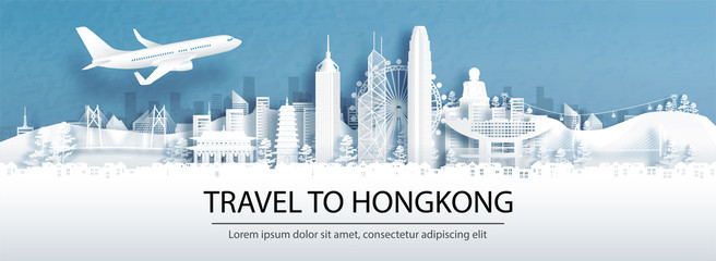 Wall Mural - Travel advertising with travel to Hong Kong, China concept with panorama view of city skyline and world famous landmarks in paper cut style vector illustration.