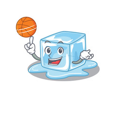 A mascot picture of ice cube cartoon character playing basketball