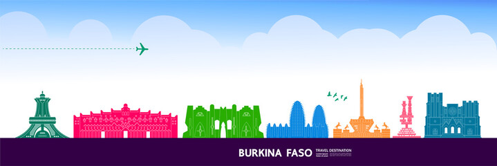 Fototapete - Burkina Faso travel destination grand vector illustration.