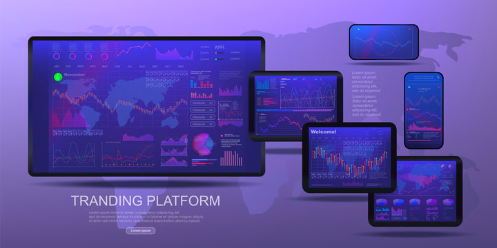 Set of electronic screens with analysis and a graph of personal data for managing a remote business. Modern marketplace