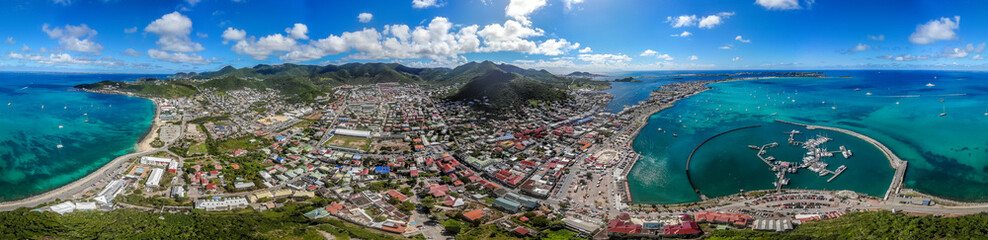 High aerial view of Marigot, The capital of french St.Martin. Fototapete
