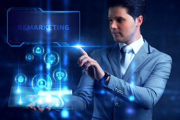 Business, Technology, Internet and network concept. Marketing content planning advertising strategy concept. Remarketing.