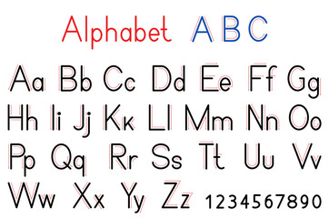 English alphabet letters and numbers. Capital and lowercase letter abc