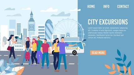 City Excursions, Bus Tour in Europe Travel Trendy Flat Vector Web Banner, Landing Page Template. Tourists Group Listening Tour Guide, Happy Couple Shooting Selfie Photo on Mobile Phone Illustration
