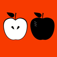 Apples on red background. Vector illustration.