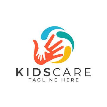 Kids Care Logo Design Vector Template